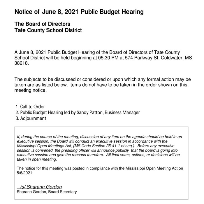 Notice Of Budget Work Session after Board Meeting 05/11/2021